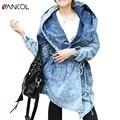 2015 Fashion Autumn Style New Women Denim Oversized Hoodie Hooded Outerwear Jean Wind Jacket  Denim Women Hoodie Coat