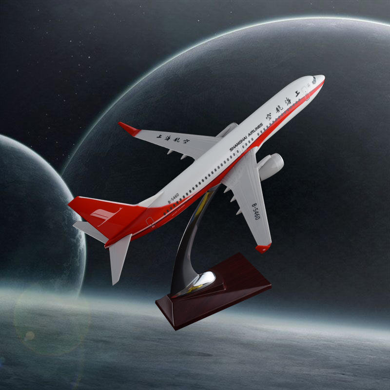 32cm Resin Aircraft Model Boeing 737 Shanghai Airlines Plane Model Aeronautical B737 Airways Airbus Model Static Craft Model spike wings xx4391 jc china eastern airlines b 5902 a330 200 green 1 400 commercial jetliners plane model hobby