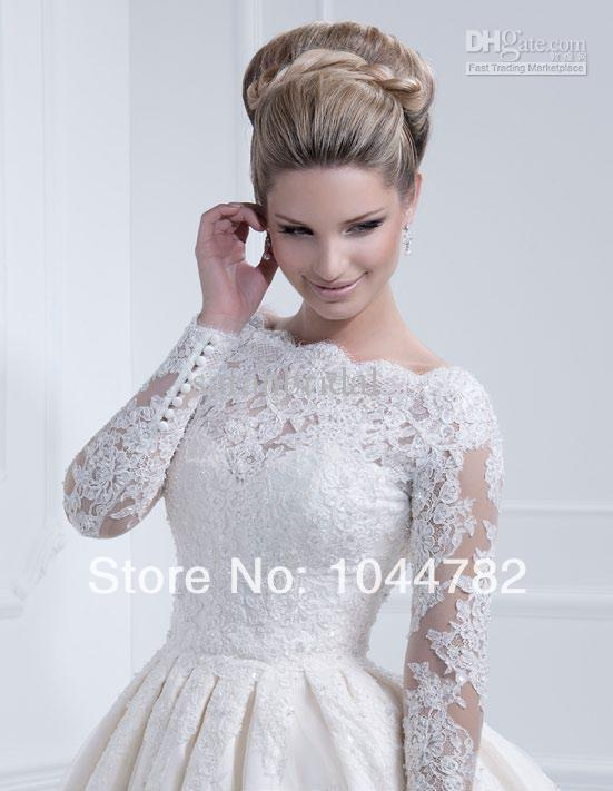 Long Sleeve Short White Lace Wedding Dress - Wedding Dress Ideas