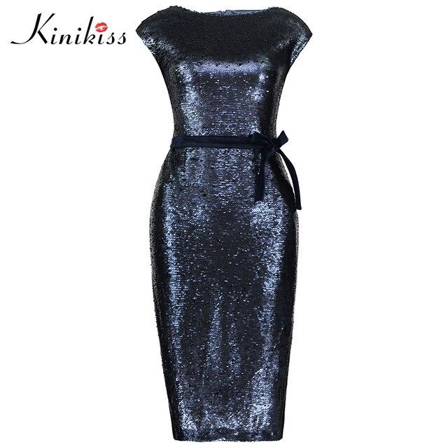 be173f00de Kinikiss Kobiety Dark Blue Cekiny Sukienka Elegancki Bodycon Aksamitna  Czapka Rękawem Sukienka Midi Moda Urząd Ladies