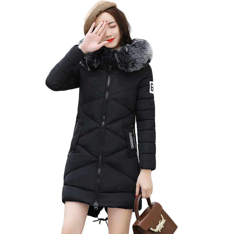 New 2017 Winter Women Hooded Jacket Female Cotton Wadded Overcoat Medium-long Slim Casual Fashion Parkas Plus Size M-3XL CM1344 2015 new mori girl wave raglan hooded loose sleeve medium long wadded jacket female