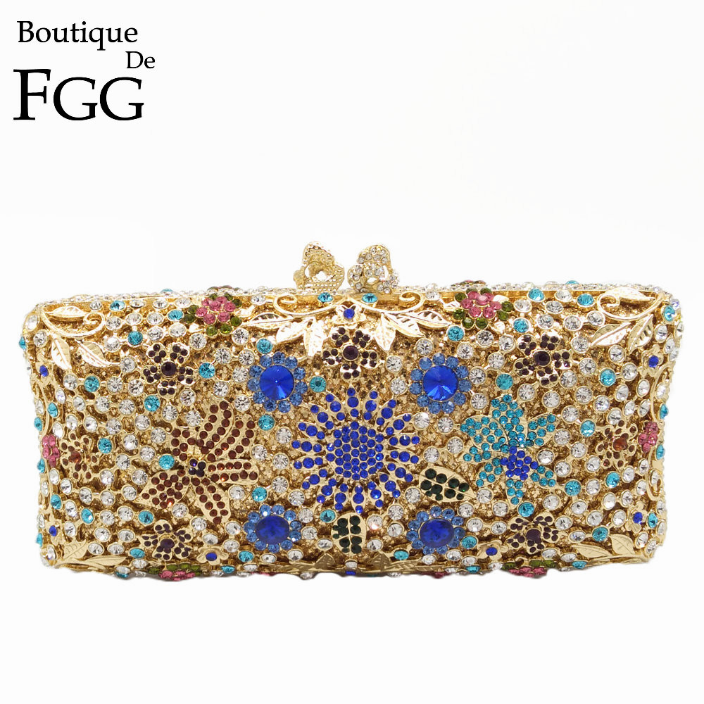 ФОТО Gift Box Packed Women Hollow Out Floral Multi Crystal Diamond Evening Clutch Purse Wedding Bridal Handbag Party Metal Clutches