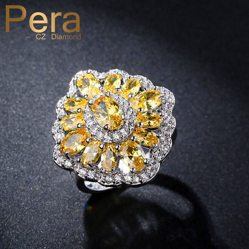 High Quality Silver Color Women CZ Jewelry Austrian Yellow Crystal Stone Pave Settings Evening Party Finger Rings For Gift R036