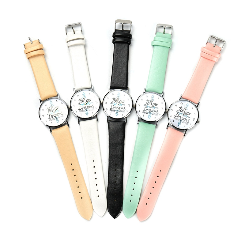 Follow Your Dreams Women Quartz Watches Reloj Mujer Relogio Feminino Leather Strap Wristwatch New Dress Watch Clock vansvar follow your dreams women quartz watches reloj mujer relogio feminino leather strap wristwatch new dress watch clock