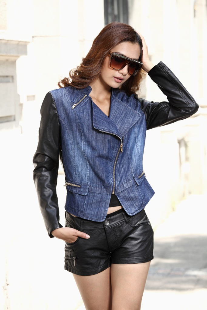 Denim jacket with leather sleeves for women