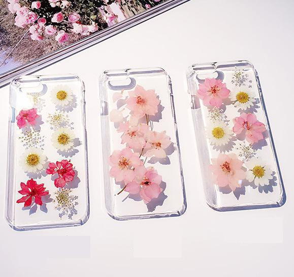 official photos b1ab2 1fe5b US $10.36 |Handmade luxury Personality Real Daisy Cherry blossoms Pressed  Flower Phone Case Soft Protective Cover For iphone 6 6s 6plus on ...
