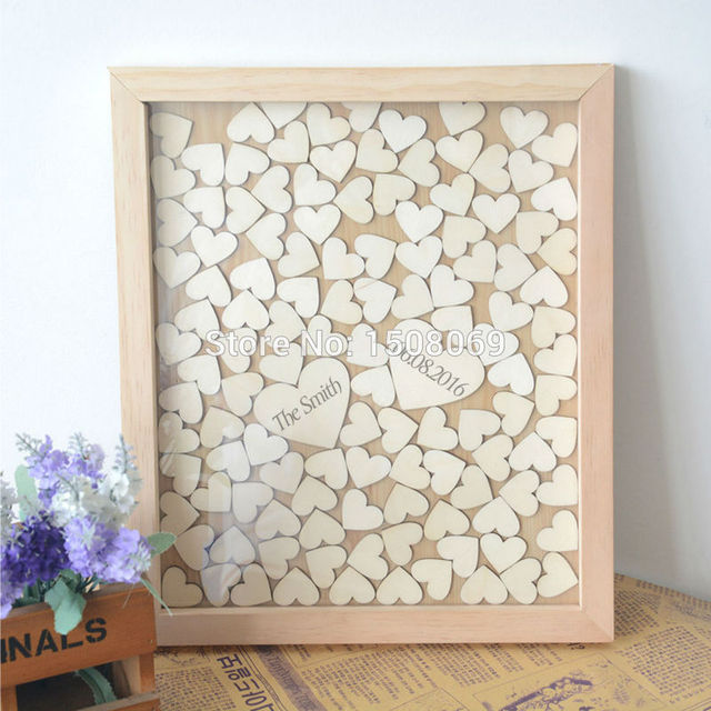 Wood Guest Book Wedding Rustic Frame Wooden Signature Hanging