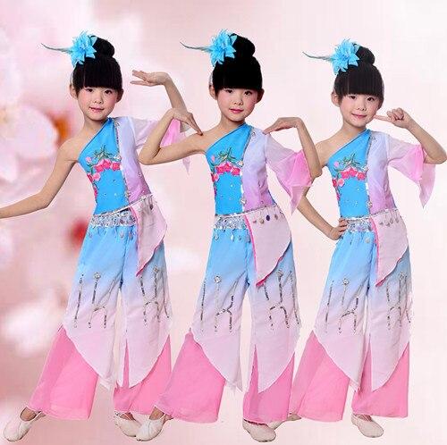 Новых детских Yangko Танец Одежда Китайская Национальная Вентилятор Костюм Танец Классическая Народная Стадия Танца Костюм Жасмин Одежда 89