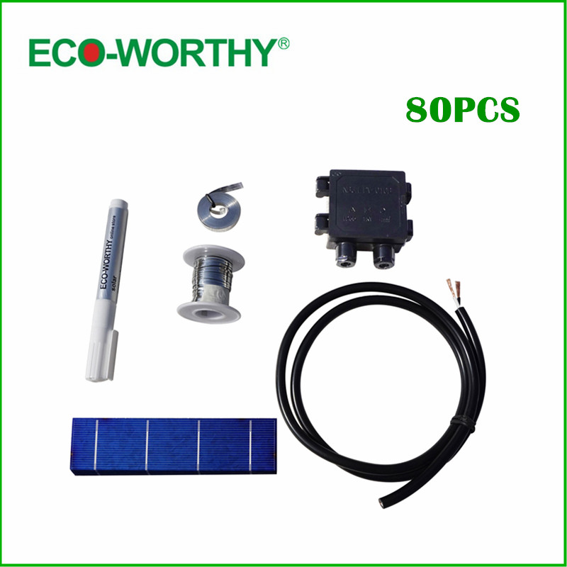 ФОТО 80pcs 156x39mm Polycrystalline Solar Cells kits tab wire bus wire flux pen Junction box High Quality for DIY 80W Solar Panel