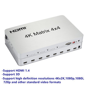 Image 3 - 4K * 2K 3D HDMI مصفوفة التبديل الجلاد 4X4 IR/RS232 التحكم الذكور موصل DTS /AC3/DSD امدادات الطاقة ل HDTV عرض شحن مجاني