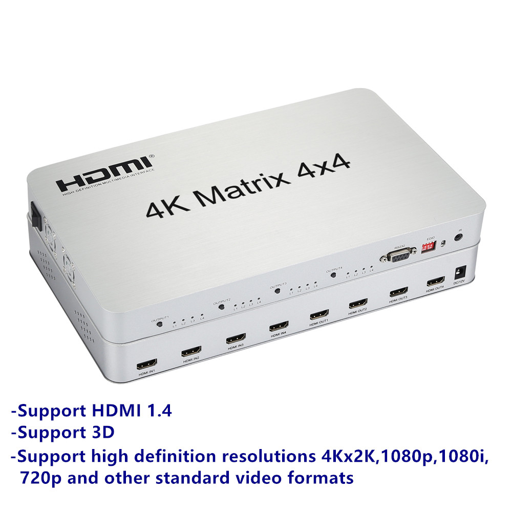 Image 3 - 4K*2K 3D HDMI Matrix Switch Switcher 4X4 IR/RS232 Control Male Connector DTS/AC3/DSD Power Supply For HDTV Display Free Shipping-in Computer Cables & Connectors from Computer & Office