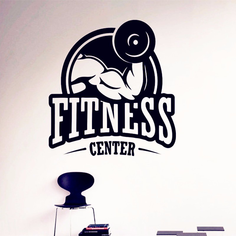 Fitness center wall vinyl decal gym art poster