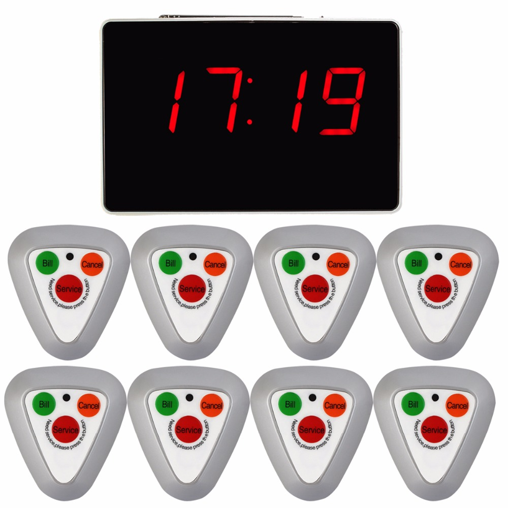 Wireless Restaurant Waiter Calling System Voice Reporting Broadcast Coaster Call Pager 1 Receiver Host + 8 Call Button F3297D wireless restaurant calling pager system 433 92mhz wireless guest call bell service ce pass 1 display 4 watch 40 call button