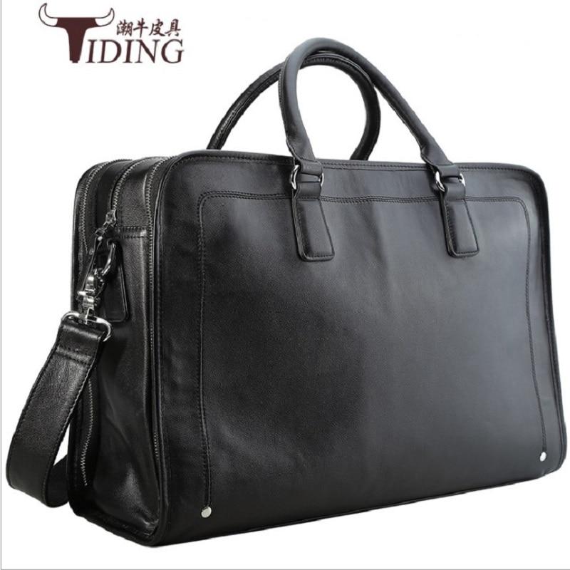 "17"" Laptop Business Briefcase Bags Cow Leather Man 2019 Black Large Capacity Travel Handbag Shoulder Tote Bags Men's Briefcases"