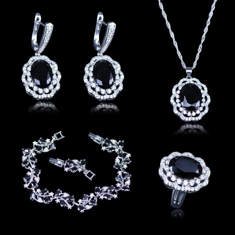 Exquisite Black Garnet White Zircon Jewelry Sets For Women 925 Silver Stamp Silver Color Jewelry Sets Bracelets earrings Set orange morganite stylish jewelry set for women white zircon gold color rings earrings necklace pendant bracelets