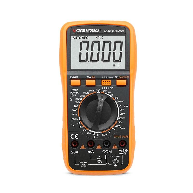 Multimètre numérique haute qualité VICTOR VC9808 + 3 1/2 DCV ACV compteur électrique ampèremètre 20A voltmètre testeur de fréquence d'inductance