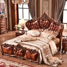 bedroom furniture heart-shaped headboard wood carving bed