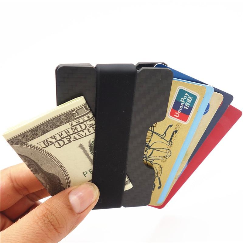 Carbon Fiber Credit Card Holder Slim RFID Blocking Band Wallets ...