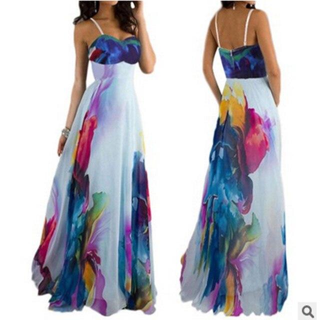 4945aa766f Lato kobiety plaża sukienki brazylia długi Boho Maxi wieczorne Party  Patchwork sukienka bandaż elegancka sukienka w