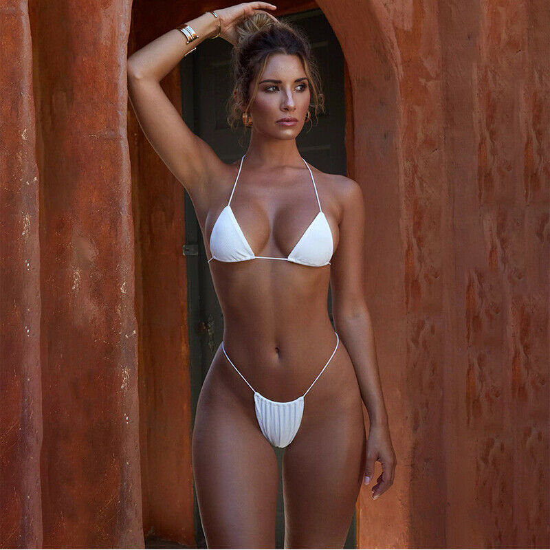 2019 Hot Women's Micro Bikini Suit Swimsuit Sexy Solid Color Swimsuit Thong Bandage Push Up Beachwear