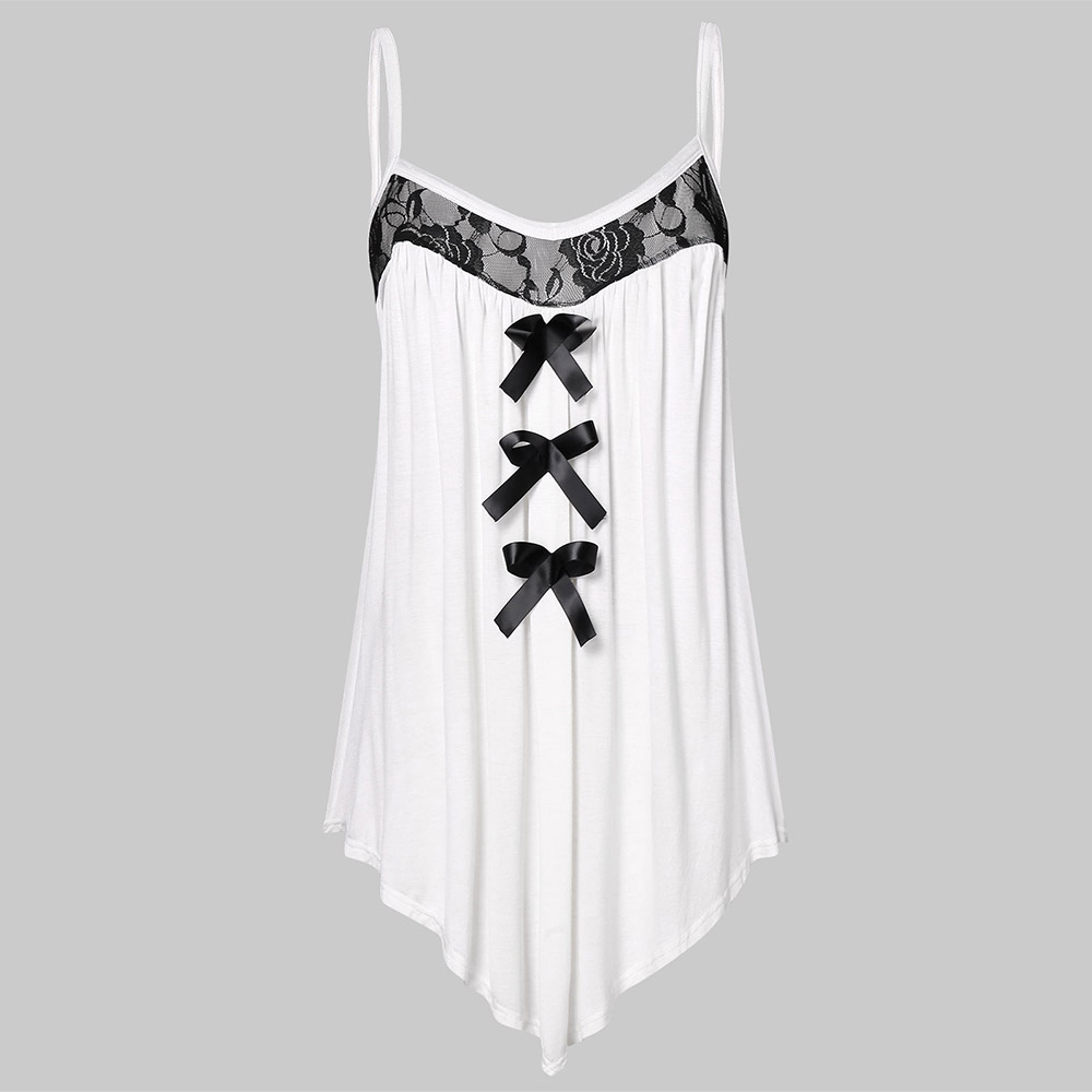 Rosegal Plus Size Women   Tops   Lace Panel Bowknot Embellished Cami   Top   Retro Bow Summer   Tank     Top   femme Blusas 2019
