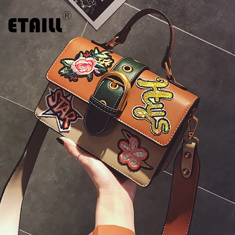 ETAILL Women Flowers Bags High Quality PU Leather Messenger Shoulder Bag Small Handbags Famous Brands Designer Top Handle Bags soar shell bag crossbody bags women messenger bags designer handbags high quality small leather shoulder bag brand famous 5