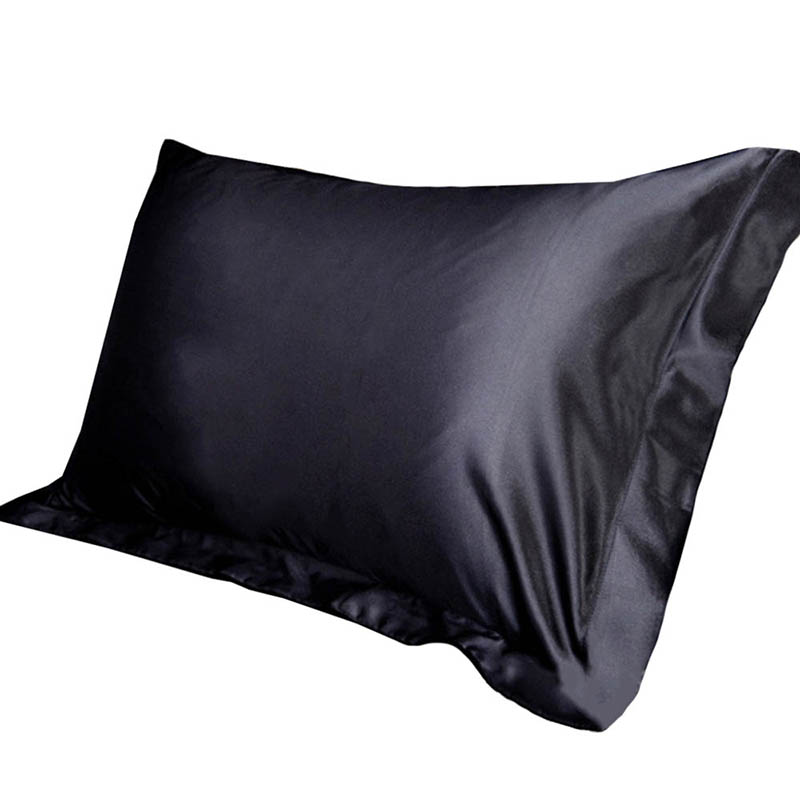 Silk Satin Pillowcase Throw Emulation Luxury Single Solid-Color 1PC for Bed 48x74cm