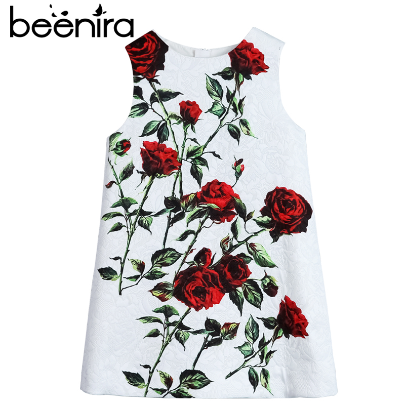 Beenira Girls Dresses 2018 New Fashions Style Sleeveless Rose Printed Printed Exquisite Dress For Children Upscale Clothes Dress цена