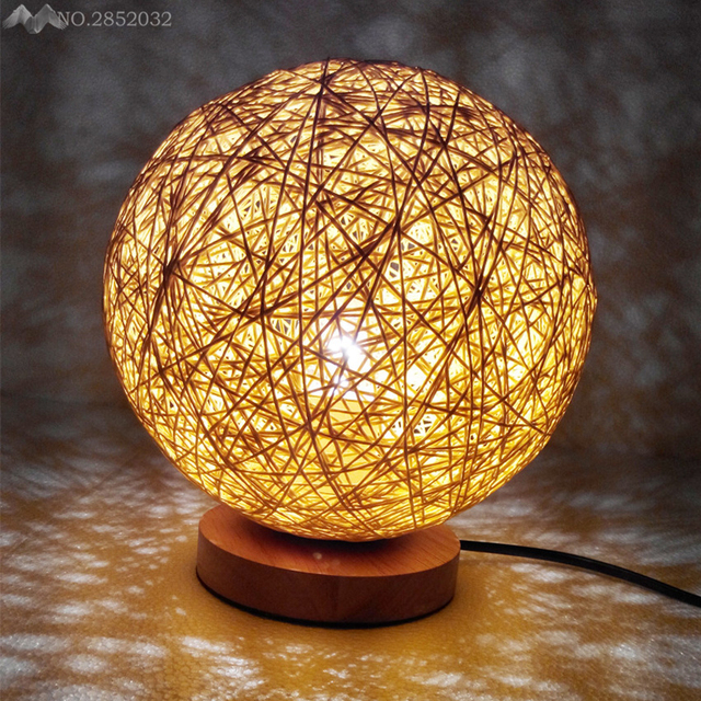 Jwnew wooden night lights bedside modern led lamps hemp rattan jwnew wooden night lights bedside modern led lamps hemp rattan circle ball table lamp christmas decoration aloadofball Choice Image