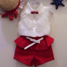 children's clothing hot-selling fashion girls baby set Girl lace white blouses+ red shorts clothing set kids clothes