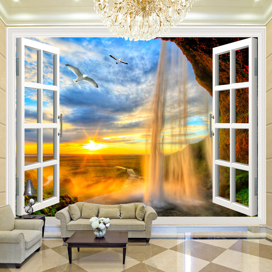 Custom 3D Photo Wallpaper Sunset Waterfall 3D Stereoscopic Window Scenery Large Murals Wallpaper Living Room Modern Wall Decor