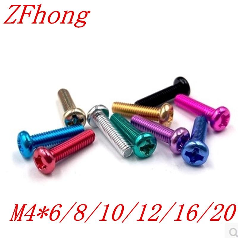 500pcs m4*6/8/10/12/16/20 colourful aluminum phillips pan  head machine screw 50pcs m3 6 8 10 12 colourful aluminum hex socket cap head machine screw