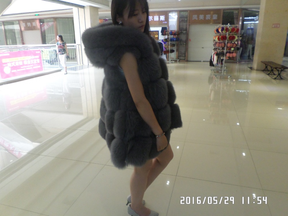 The real natural fox fur vest with hood