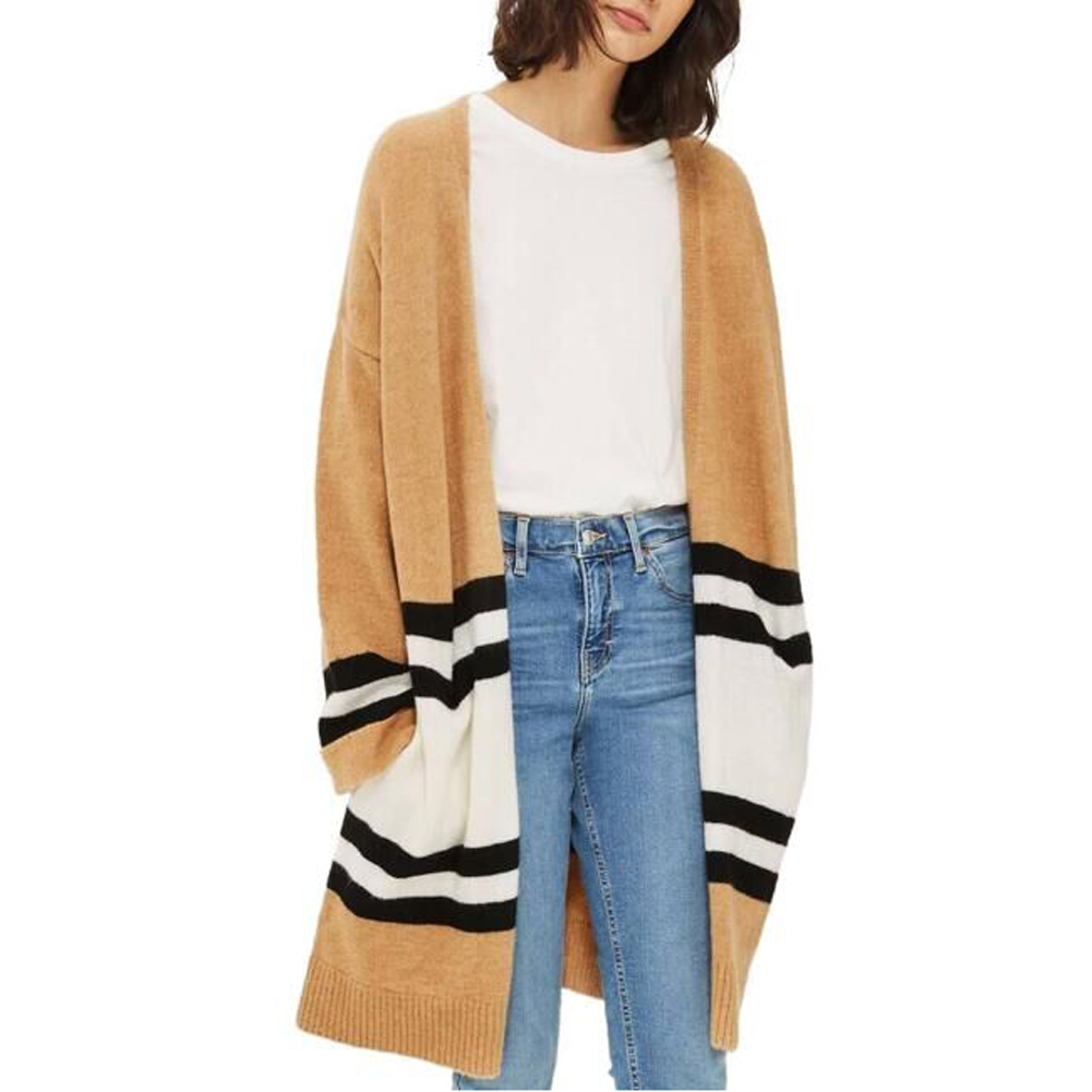 2017 Spring Autumn long sweater cardigan Korean fashion patchwork loose knit cardigan female knitted cardigans