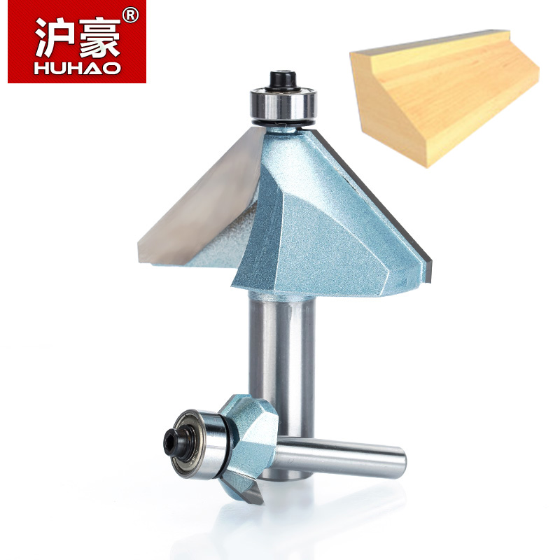 HUHAO 1pcs 1/21/4 Shank Chamfer Cutter Industrial grade Router Bits for wood Horse Nose Bit 45 Deg CNC Woodworking Tool endmil