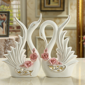 Small Creative Ceramic Swan Lovers Home Decor Crafts Room Decoration Objects Wedding Gift Porcelain Figurines Wedding Decoration