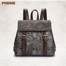 PNDME designer handmade embossed genuine leather ladies backpack fashion vintage outdoor daily cowhide womens party rucksack