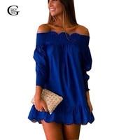 Plus Size 2016 Summer Vestidos Women Casual Loose Dress Ruffle Sleeve Off Shoulder Mini Dress Strpless
