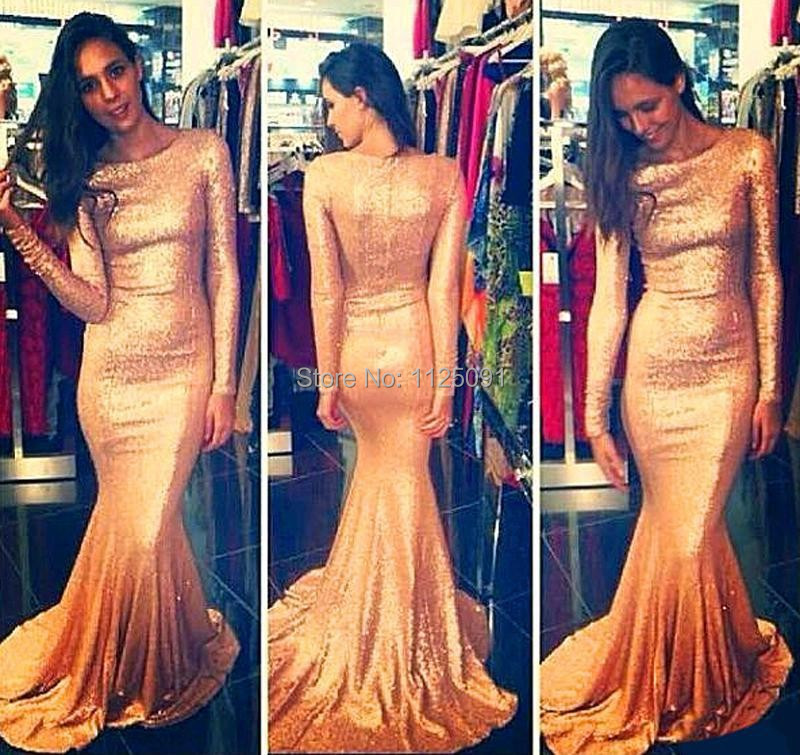 2019 Designer Bling Gold Sequins Prom Celebrity Dresses Mermaid Long Sleeves Crew Sexy Special Occasion Party Evening Gown