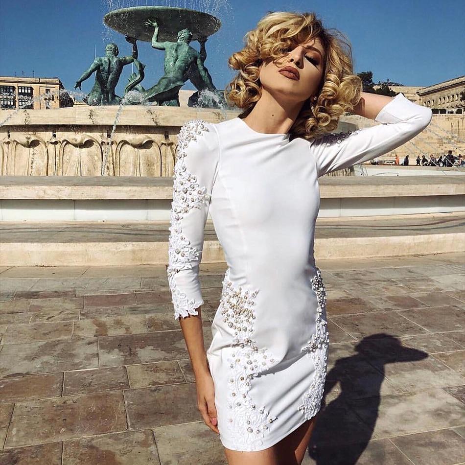 5e519f99bce Hashupha 2019 Winter New Fashion Style Women Sexy Club Bandage Dress Long  Sleeve O Neck Bodycon