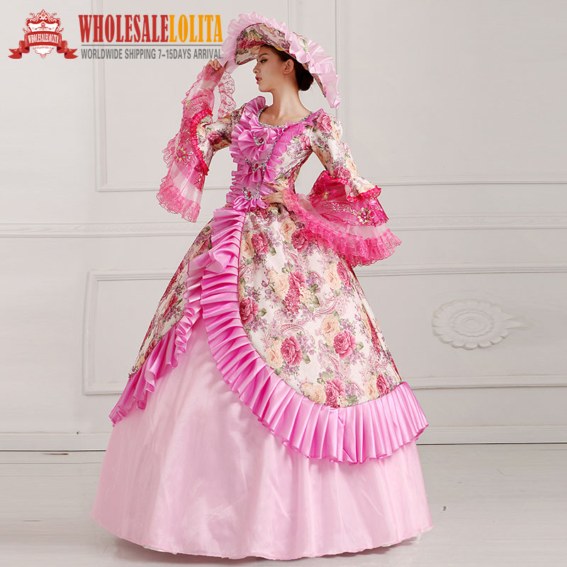 New Floral Printed Masquerade Ball Gown Southern Rococo Belle Dress ...