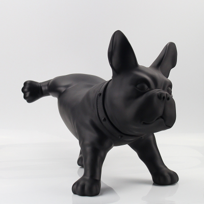 animal figure home decorations black and white PE plastic bull dog ornaments wedding gift creative simulation peeing dog statues