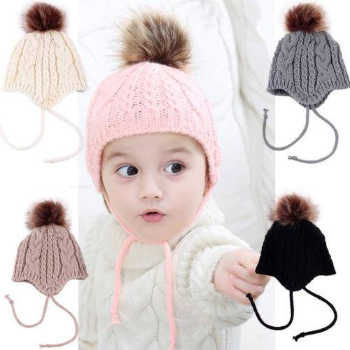 0cd7d6a9405 2017 Winter Christmas Lovely Baby Girl Hat Toddler Kid Crochet Earflap  Beanie Newborn Soft Cap Babes Hats