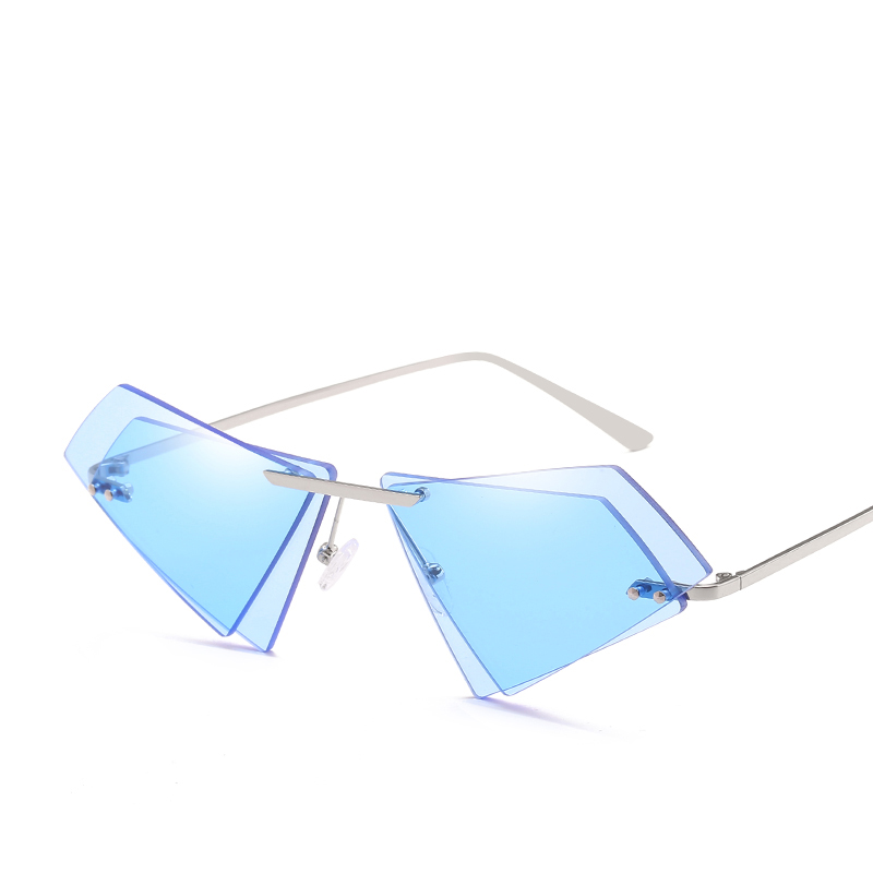 Fishing Eyewear Unique Rimless Women Diamond Sharp Sunglasses Eyeglass UV400 Double Lens Cat Eye Tinted/Clear Lens Shades