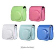 Andoer PU Instant Camera Tas Case met Riem voor Fujifilm Instax Mini 8/9/8 + Flamingo Instant camera Tas Roze Blauw Wit Groen