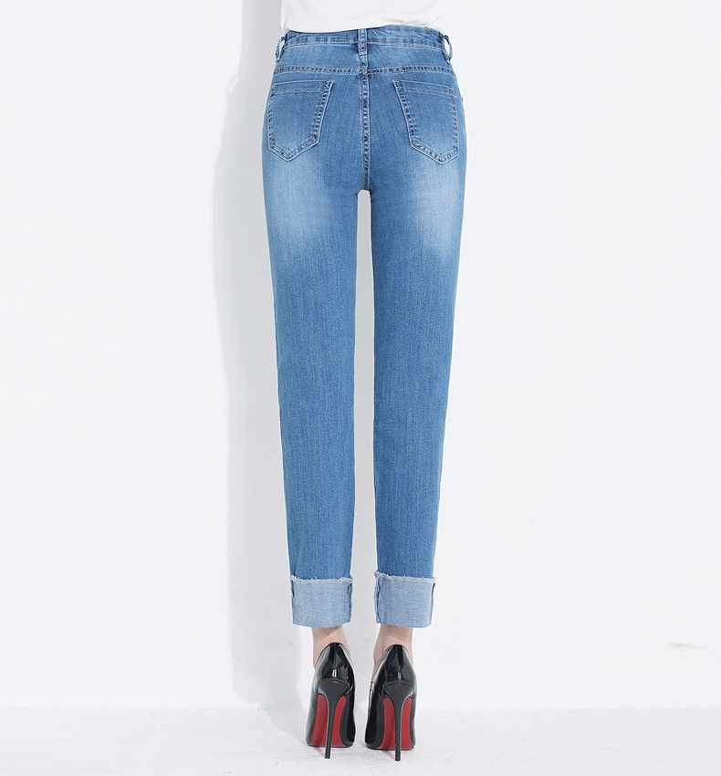 KSTUN jeans woman high waist straight slim elasticity mom denim pants ladies plus size push up femme mujer trousers kot pantolon 18