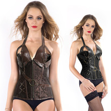 Trendy Popular Brown Black Sexy Gothic Steampunk Corset Bustier Lace up Boned with Chains Overbust Plus Size S-6XL