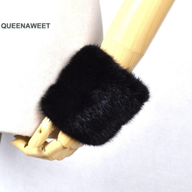 Épaissir les femmes hiver chaud poignet bras gants mode noir raton laveur fourrure manchette dame Bracelet Bracelet bras Warme