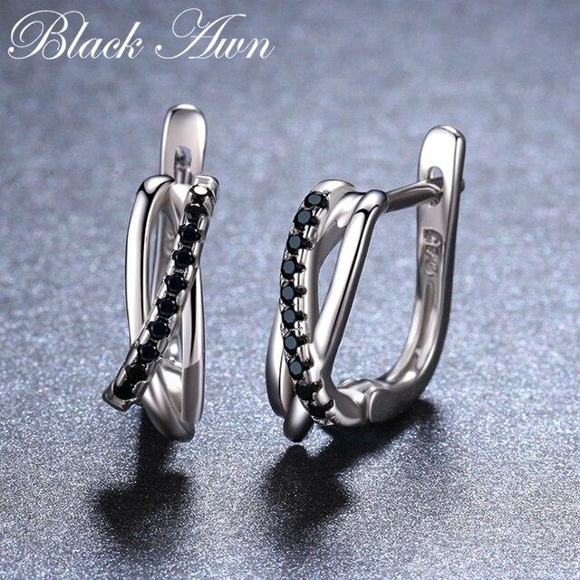 925 Sterling Silver Jewelry Black Spinel Stone Cute Stud Earrings 3