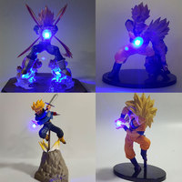 Dragon Ball Z Vegeta Goku Gohan Father Son PVC Model Action Figures Dragon Ball Super Saiyan Vegeta Goku Led Light Kids Toy Gift